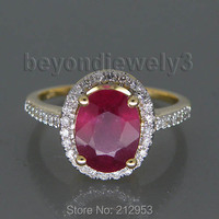 3.12ct Solid 14Kt Yellow Gold Ruby Wedding Ring, Diamond Natural Red Ruby Ring For Sale R0014