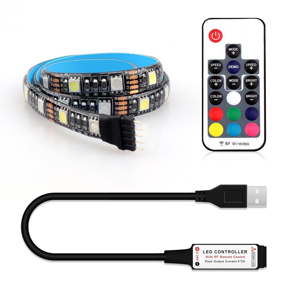 USB LED Strip 5050 RGBW RGBWW With 17Key RF Remote Controller TV Background Lighting 5V Flexible Strip Light 50CM 1M 2M 4M 5M