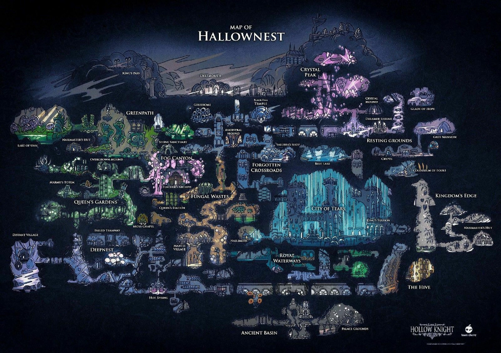 Hollow Knight Map Of Hallownest SILK POSTER Decorative painting 24x36inch