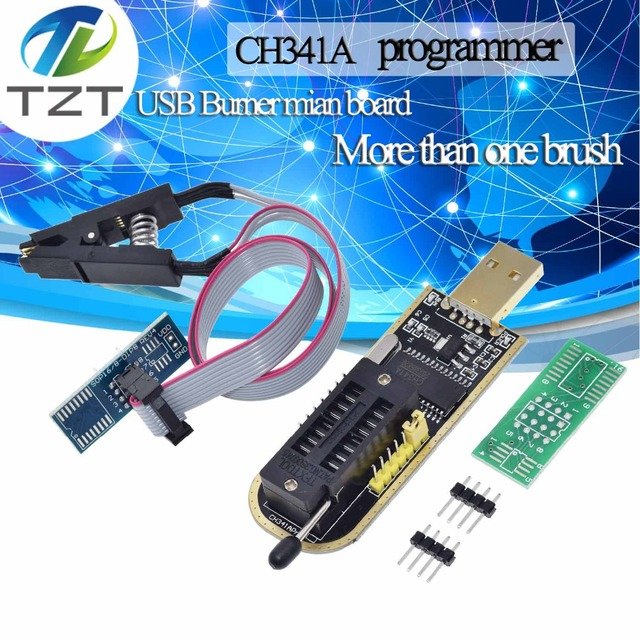 TZT CH341A 24 25 Series EEPROM Flash BIOS USB Programmer Module + SOIC8 SOP8 Test Clip For EEPROM 93CXX / 25CXX / 24CXX