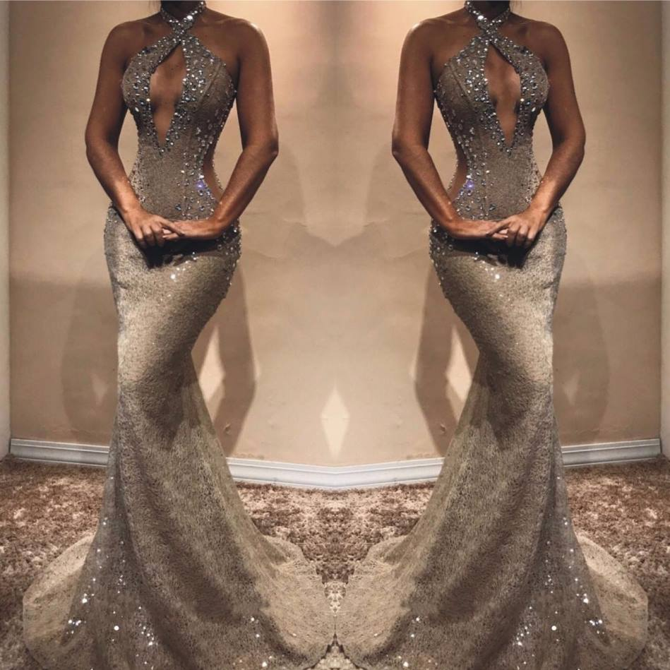 Sexy Hater Beading Crystal   Prom     Dresses   2019 Charming Sleeveless Mermaid Evening   Dresses   Custom Make Long   Dress   Robe De Soiree