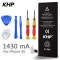100% original marca khp real capacidade 1430 mah da bateria do telefone para o iphone 4s com ferramentas de máquina kit baterias móveis