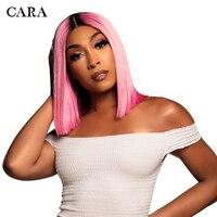 [Индивидуальные Парик] CARA боб парик короткие Синтетические волосы на кружеве человеческих волос парики для Для женщин прямо 13x4 Синтетическ