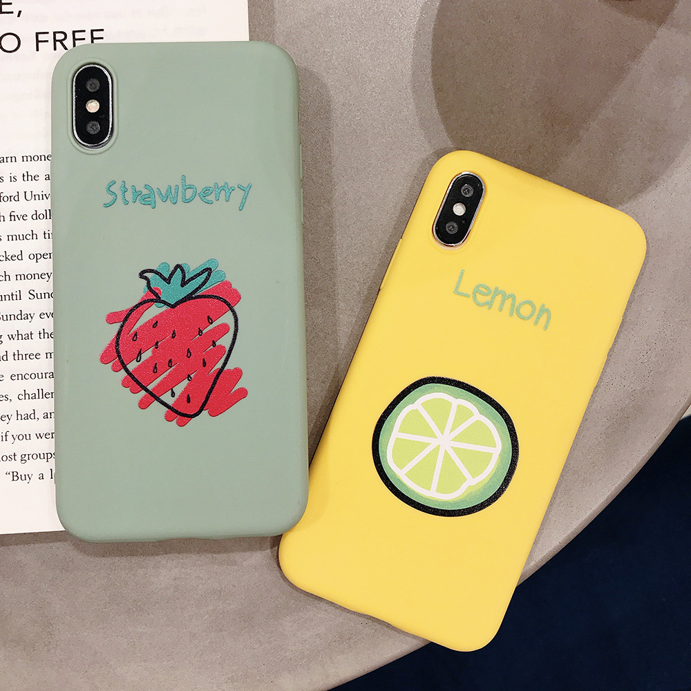KIPX1090_7_JONSNOW Phone Case for iPhone XR XS Max 6S 7 8 Plus Embossed Fruit Style Lemon Watermelon Strawberry Patterns Soft Silicone Cover