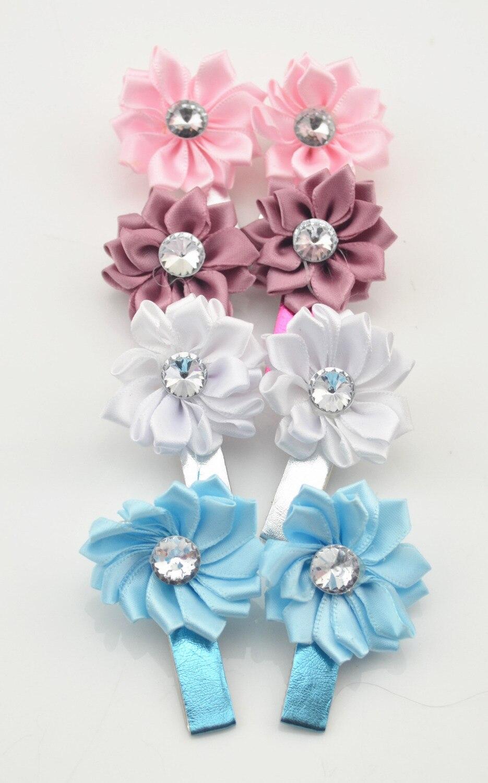 8Pcs lot Beauty Flower Hairpins Children Hair Accessories Girls Rhinestone Hair Barrettes Children Accessories Baby Hair