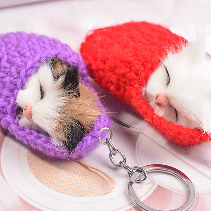 Handmade Bonito do Gato Do Sono Chaveiros Para Mulheres Meninas Sapatos de Tecido Faux Pele De Coelho Pompom Fofo Gatinho Chaveiro da Chave Do Carro anéis