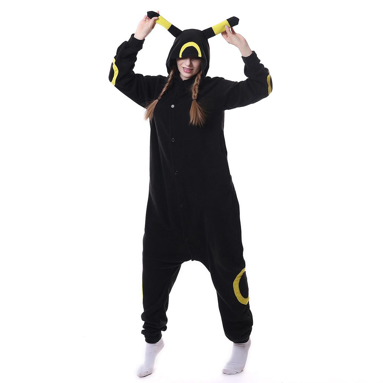 Kigurumi Cartoon Onesie Pokemon Cosplay Umbreon Pajamas Girl Women Adult Black Sleepwear Party Jumpsuit Winter Sleep Overalls XL