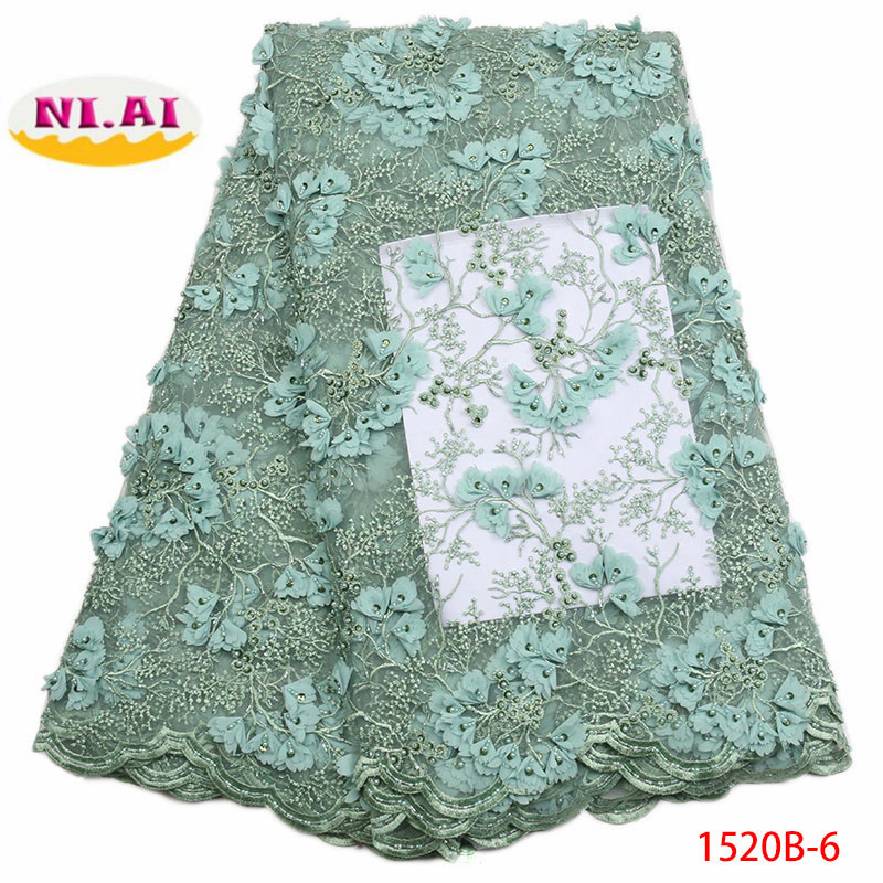 2018 French Embroidery Mesh TulLe Lace Fabric 3D Applique African Beaded Lace Fabrics Wholesale For Wedding