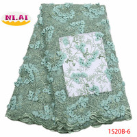 2018 French Embroidery Mesh TulLe Lace Fabric 3D Applique African Beaded Lace Fabrics Wholesale For Wedding Party XY1520B 6