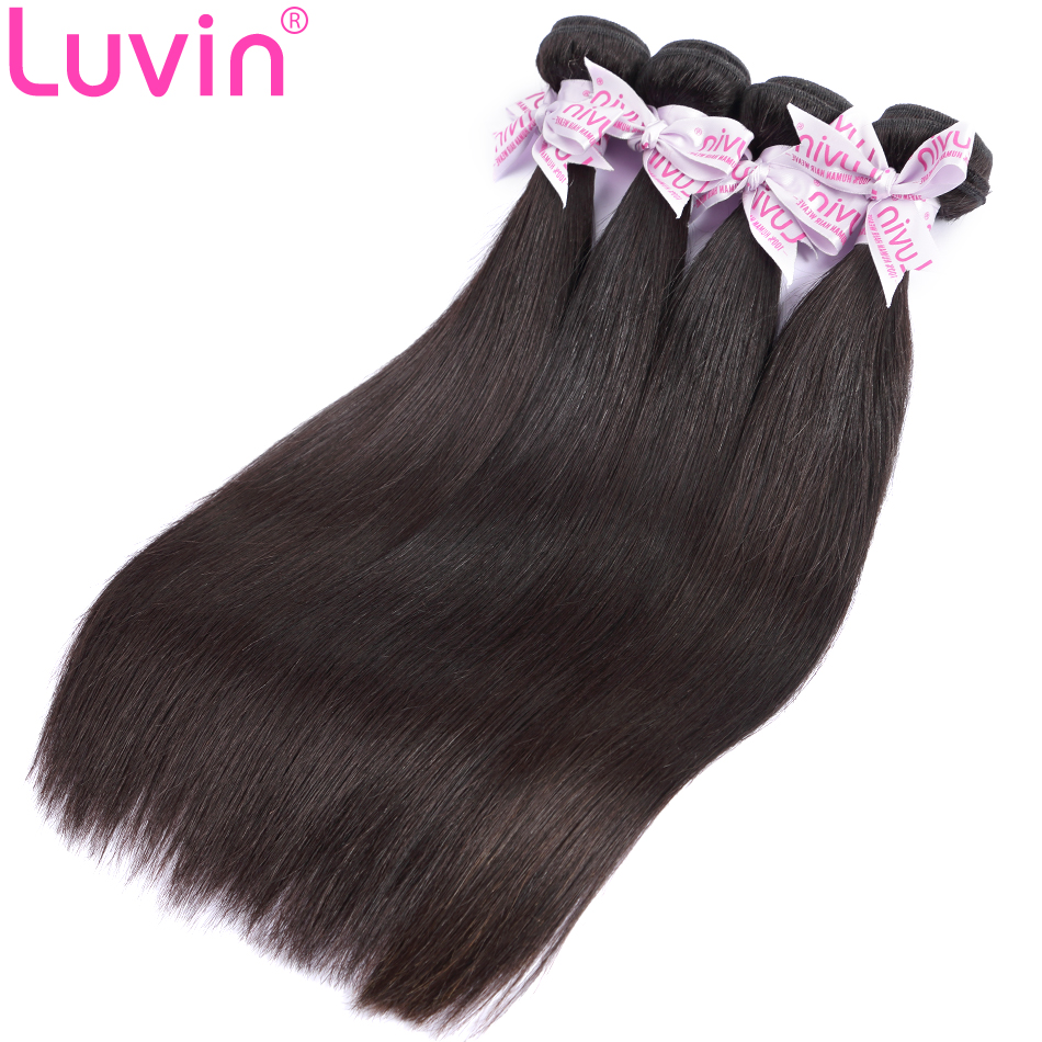 Luvin Brazilian Straight Remy Hair 4 Bundles Deal 100 Unprocessed Human Hair Weave Natural Color Shipping