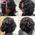 7А Дешевые короткий боб парики Оживленные вьющиеся Full Lace человеческих волос, парики для черных женщин Gluless короткий парик Фронта парики Шнурка с волосами Младенца