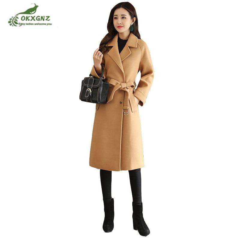 Haute qualité Hiver nouveau manteau de laine de la mode féminine lady moyen long Slim Grande taille S-XL à manches longues laine Coupe-Vent veste