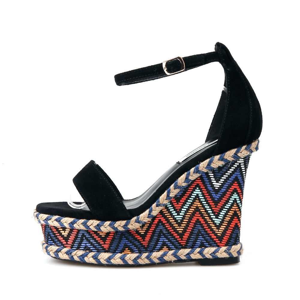 Inek süet kadın ayakkabı sandalet yüksek topuk ayakkabı açık toe takozlar ayakkabı kadınlar için yüksek topuk ayak bileği kayışı platform sandaletler yaz ayakkabı