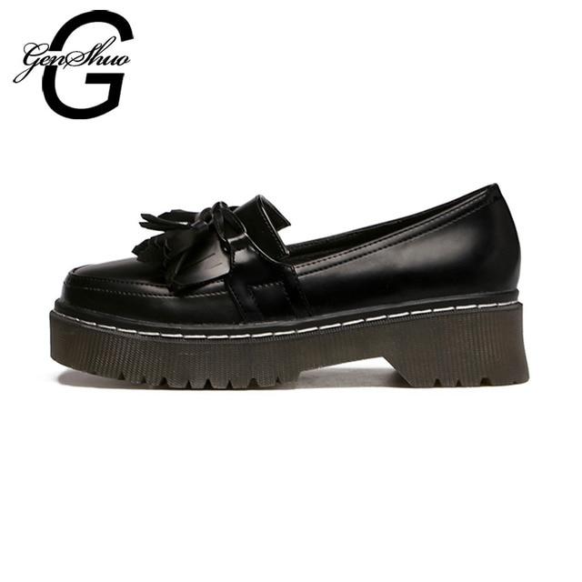 GENSHUO Women Oxfords British 2018 New Summer Autumn Platform Flats Casual Fringe Ladies Brogue Shoes Woman Black Brown Size
