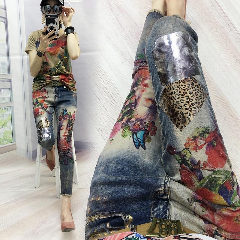 Pantalon denim Peint Bronzage Jeans Femme 2019 Printemps Automne Nouvelles Femmes Ins Super Feu De Mode Jeans avec impression Pantalon Femelle