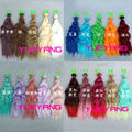 20 pieces/lot wholesales 25cm*100CM  curl rainbow color wavy thick dense doll wig for blythe hair for barbie doll