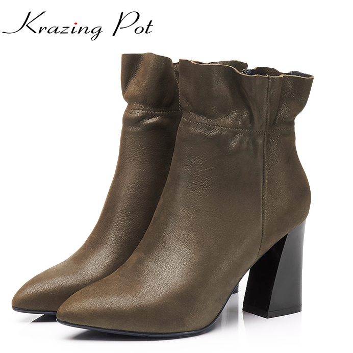 Krazing Pot full grain leather high quality plus size flowers women pointed toe high heels zipper fashion mild-calf boots L5f1 popular high quality full grain leather ankle boots size 40 41 42 43 44 sequined decoration zipper design round toe boots