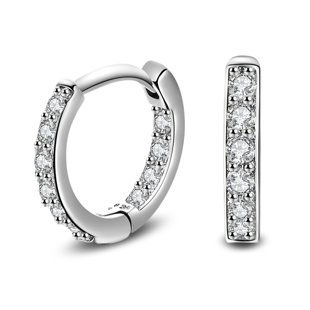 Full Crystal Earrings Luxury Silver color plated Earrings For Women Earing Zircon Earings Fashion Jewelry Stud Earing Oorbellen