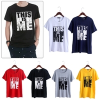 2017 S To 5XL Plus Size Mens Casual Short Sleeve Shirts Soft Letter Pattern Tee Shirt