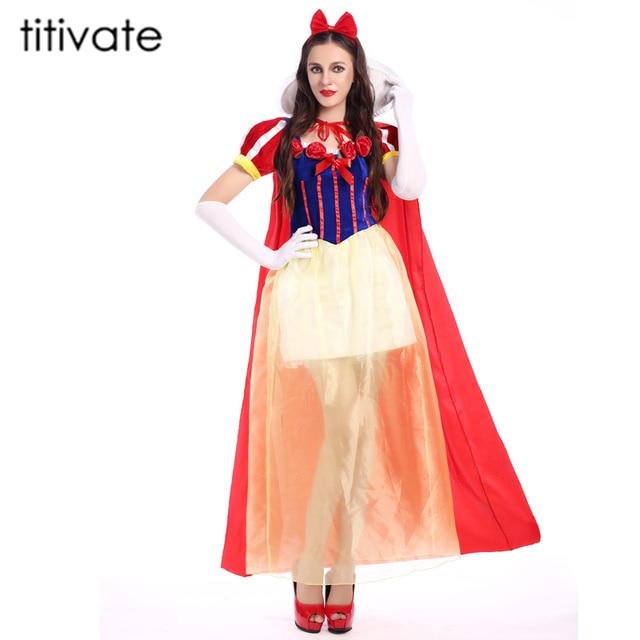 TITIVATE Adulto Biancaneve Costume di Carnevale Costumi di Halloween per Le  Donne Fiaba Principessa Cosplay Vestito c976bbabc5a
