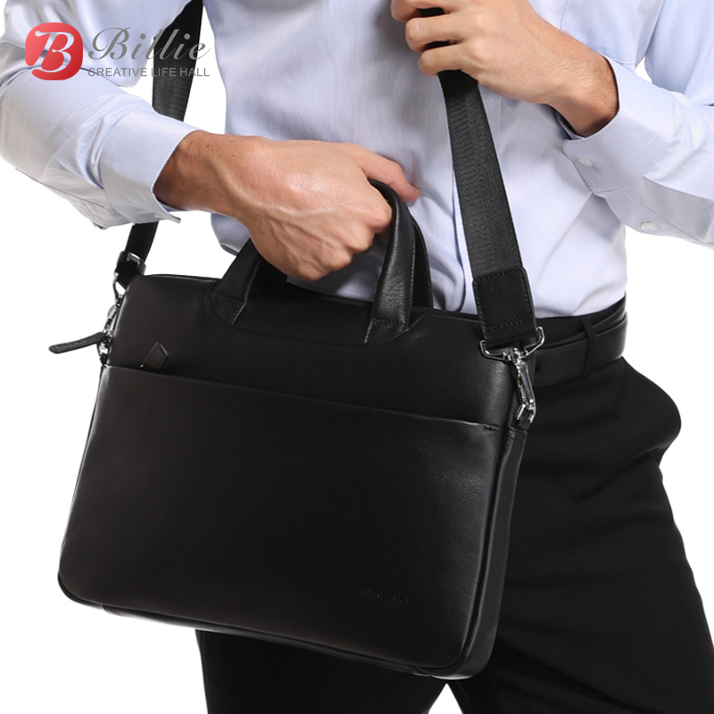"""Laptop bag case For Macbook Asus lenovo 13""""15"""" Deluxe Genuine Men's Briefcase High Quality handbag computer bags Notebook bags-in Laptop Bags & Cases from Computer & Office"""