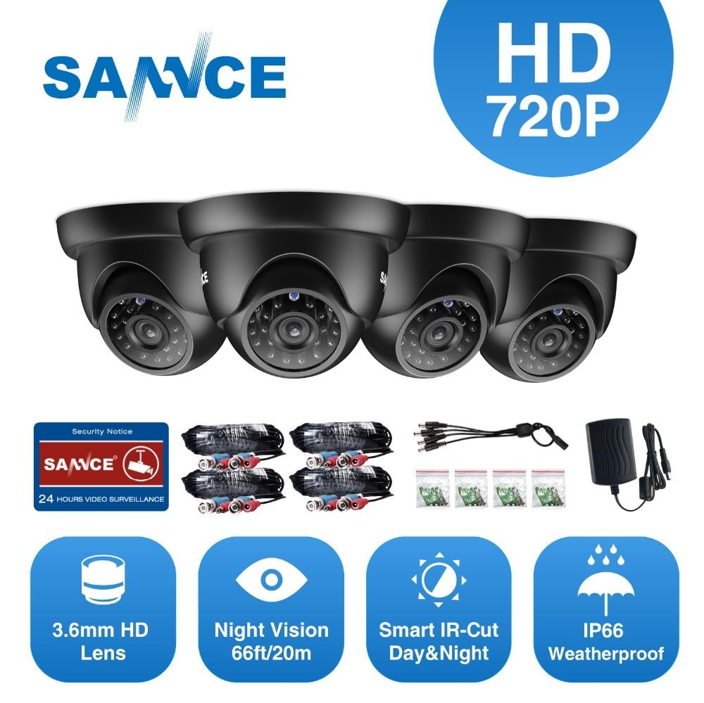 SANNCE 4 шт. купол 720 P CCTV Камера ИК ночного IP66 1.0mp видеонаблюдения Камеры Скрытого видеонаблюдения с 4 шт. 60ft BNC кабели
