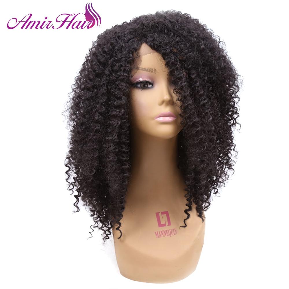 Amir Korta peruker 180% Densitet Afro Kinky Curly Synthetic Hair Lace - Syntetiskt hår