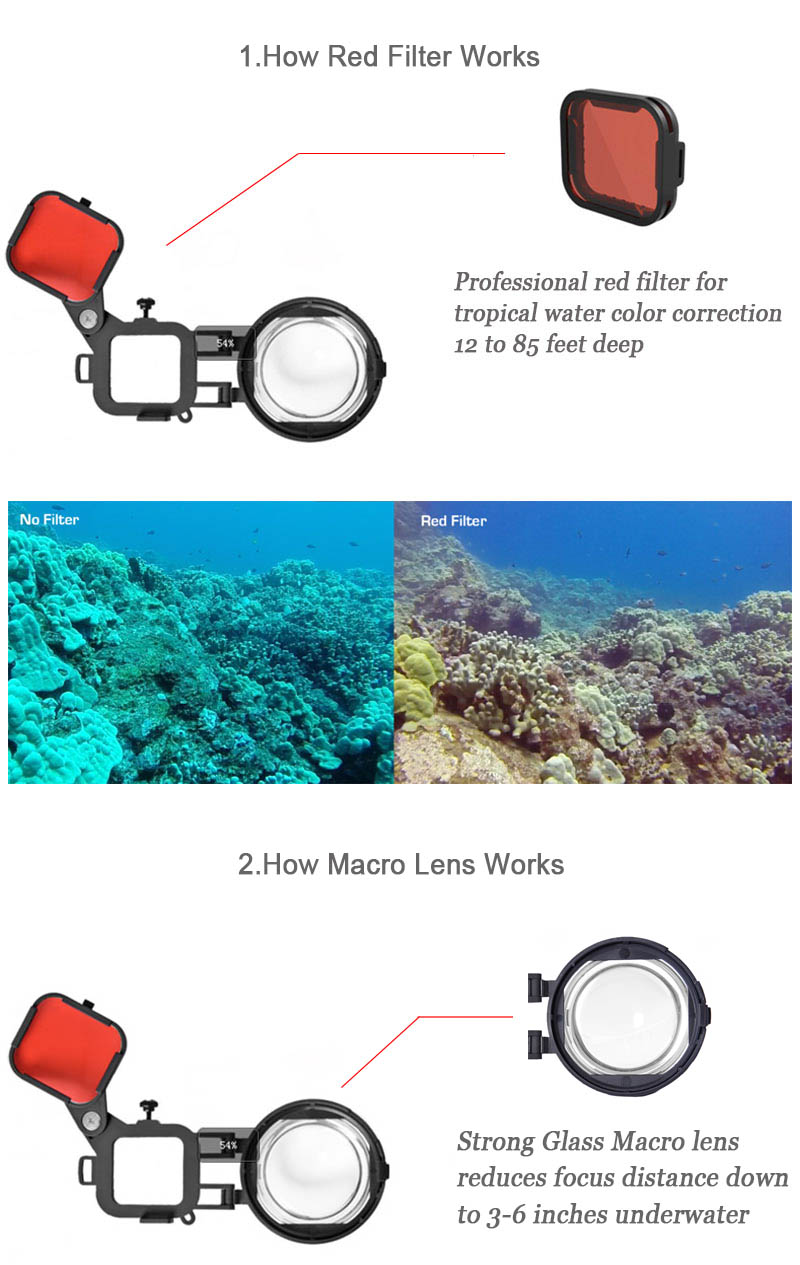 Red Color Correction Filter + 16X Close Up Macro Lens for Gopro Go Pro Hero 4 3 3+ Housing Case Underwater Scuba Lens Filter Kit (17)