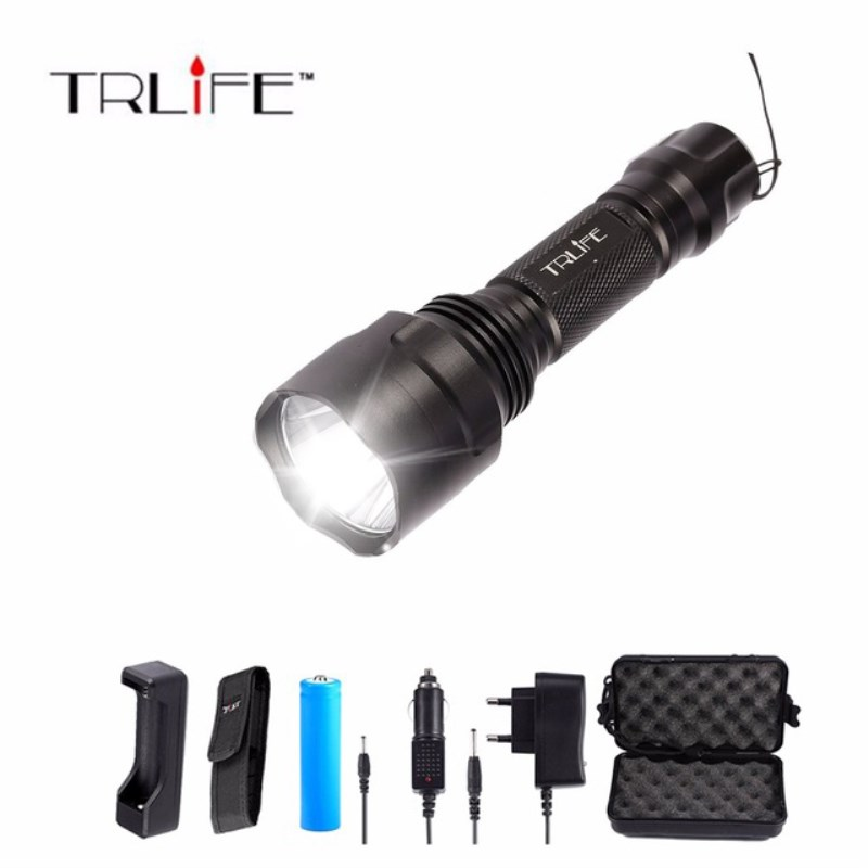 LED Super L2/T6 Flashlight 8000 lumens Torch high power Tactical Flashlight Lamp Light +Charger+1*18650 Battery+Holster led xm l2 flashlight 8000lumens tactical flashlight hunting flash light torch lamp 18650 battery charger gun mount