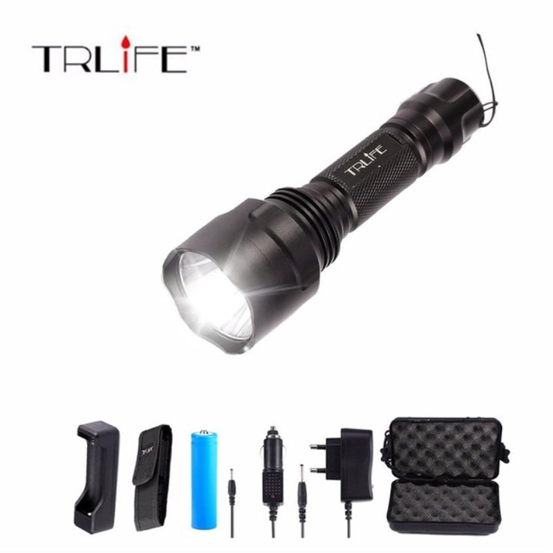 LED Super L2/T6 lampe de Poche 8000 lumens Torche haute puissance Tactique Lampe de Poche + Chargeur + 1*18650 Batterie + Étui
