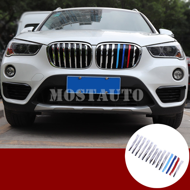 For BMW X1 F48 ABS Chrome Center Grille Grill Molding