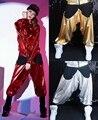 Adultos dos miúdos nova moda casual moletom trajes femininos desgaste vermelho paillette patchwork jazz soltas harem hip hop calças de dança