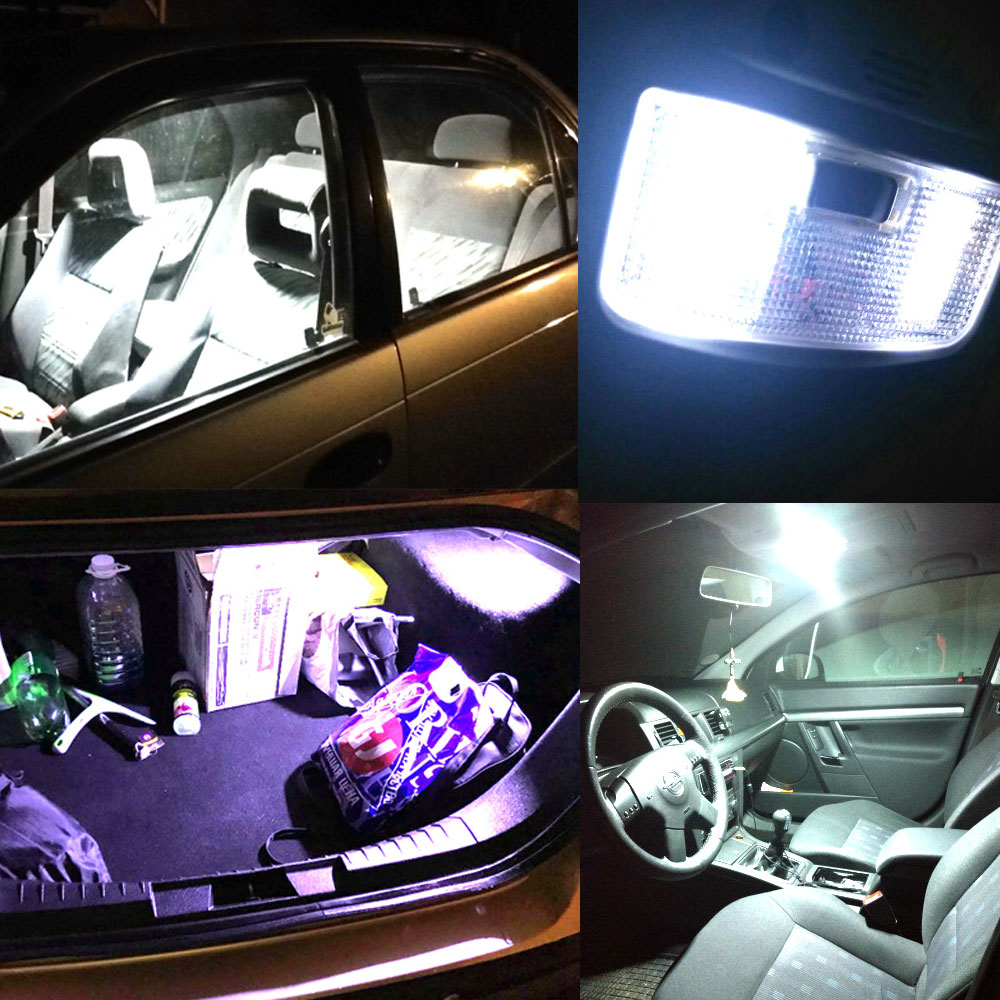 Hviero White T10 36Smd Cob Led Panel Car Auto Interior Reading Map Lamp Bulb Car Panel light Dome Festoon BA9S 3Adapter DC 12v Led