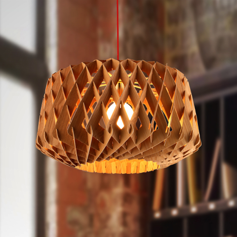 Creative Nordic modern brief wooden honeycomb rural pendant light Wooden Lampshade for ...