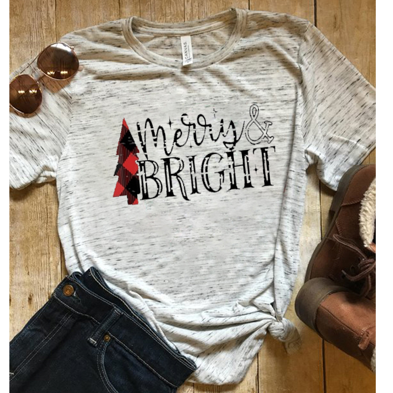 Merry Bright Shirts Women Cute Christmas Winter Tshirt Gothic Streetwear Pink T Womens Tops Plus Size shirt in T Shirts from Women 39 s Clothing