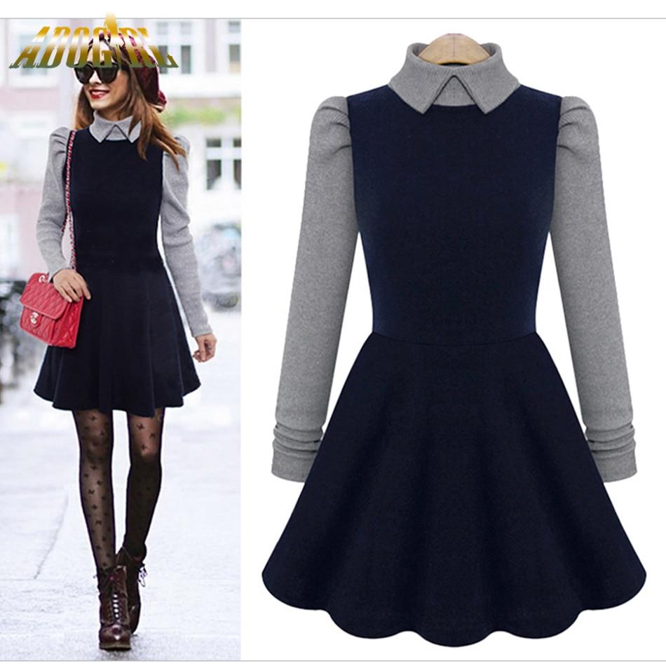 Adogirl Winter Dress A Line Vestiods Korean Thicken Slim