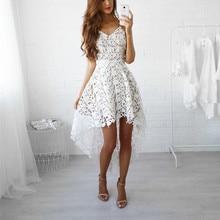 2017 Sexy Summer Женщины Платья Пот Irregualr Выдалбливают Strappy Кружева Dress Vestidos Белый Dress