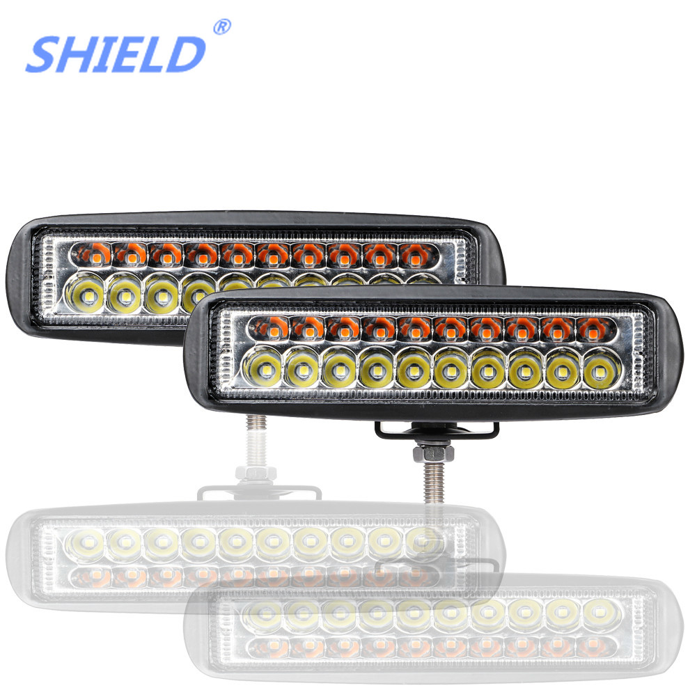 ADZOON New 60W 6inch LED Fog Light Spot Amber And White Dual Color Offroad LED Work Car Light For Ford Toyota SUV 4WD Offroad