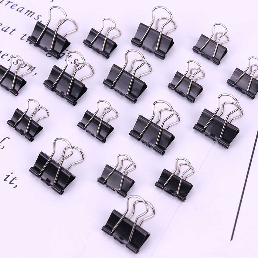 12PCS/Pack Black Metal Binder Clips 19/15mm Notes Letter Paper Clip Office Supplies Binding Securing Clip Product