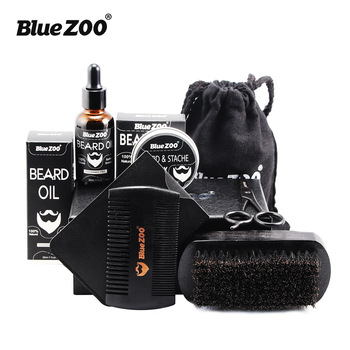 7pcs/set Men Beard Grooming Kits Beard Oil Mustache Moisturizing Wax Mustache Balm Beard Oil Essence Styling Comb Beard Care Set 1