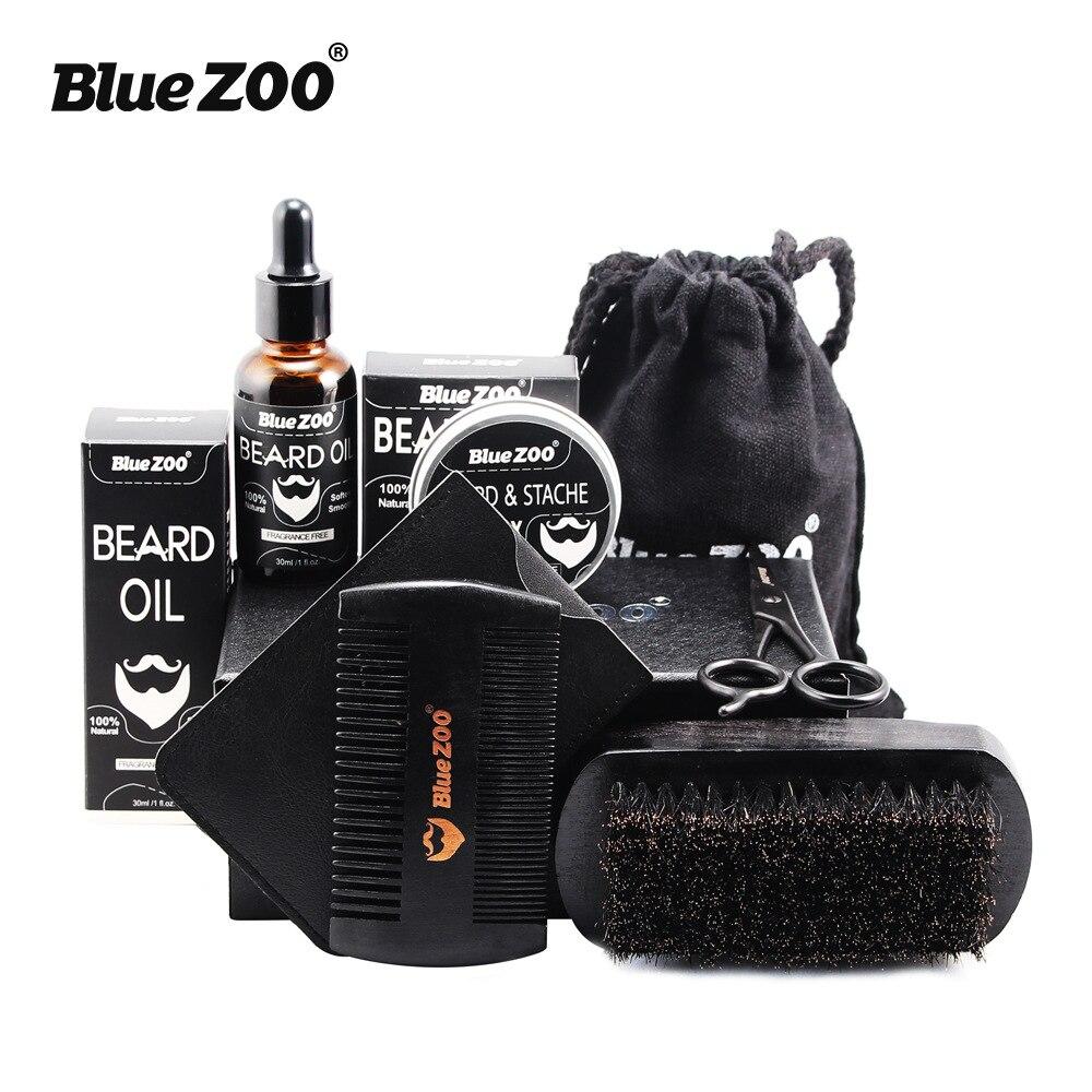 7 pçs/set men beard grooming kits barba óleo bigode hidratante cera bálsamo barba óleo essência estilo pente barba cuidados conjunto