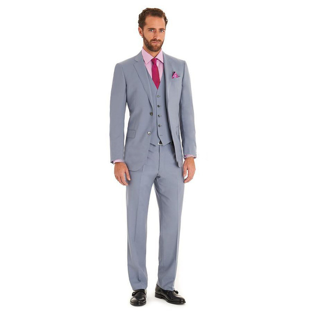 2018 Tuxedos Mens Wedding Suits Slim Fit Light Grey(Jacket+Pants+ ...