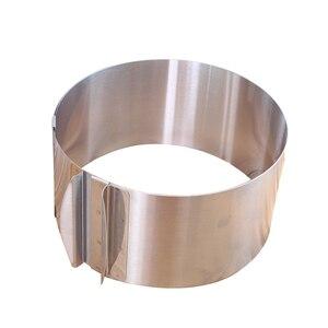 Image 4 - قابل للسحب طوق من الفولاذ المقاوم للصدأ رغوة حلقة كعكة الخبز أداة مجموعة حجم شكل قابل للتعديل خبز الفضة ل أدوات مطبخ