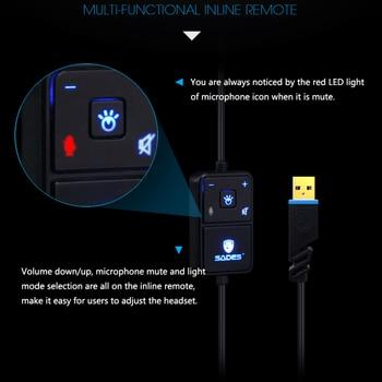 SADES Locust Plus Headphones 7.1 Surround Sound Headset elastic suspension Headband Earphones with RGB LED Light for PC/Laptop 3