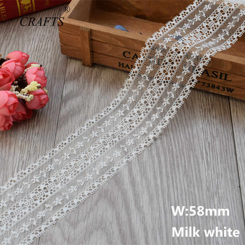 2019 Global Hot Sale 10 yards beautiful milk white lace ribbon European lace fabric lace sew embroidery dress accessories