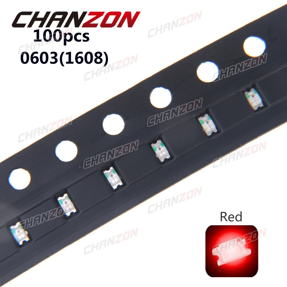 100pcs 0603 (<font><b>1608</b></font>) <font><b>SMD</b></font> <font><b>LED</b></font> Bead Red <font><b>LED</b></font> Light Emitting Diode Lamp <font><b>SMD</b></font> Chip Bulb 2V Surface Mount Electronics Components for PCB image
