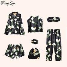 FLC129 7 Pic Silk Pajamas Pajama Set Pijamas Mujer Kigurumi Satin Night Suit Pijama Pizama Damska Pyjama