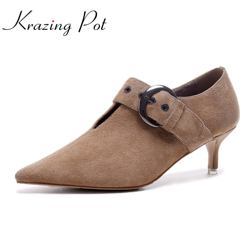 KRAZING POT 2017 runway sheep suede rivets original design thin high heel shallow round buckle pumps pointed toe brand shoes L36 krazing pot shallow sheep suede metal buckle thick high heels pointed toe pumps princess style solid office lady work shoes l05