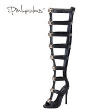 Pink Palms women summer shoes high heels sandals metallic tiger fretwork over the knee boot strap motorcycle boots