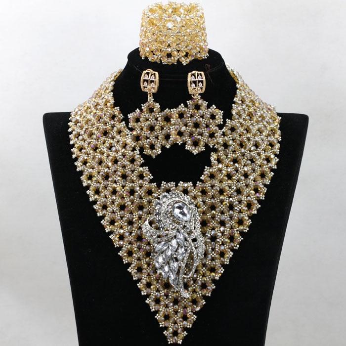 Superior Gold Indian Bridal Beads Jewellery Set Handmade Nigerian ...